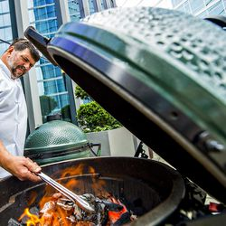 Chef Kevin Rathbun prepares his beef in a dude rag for Sunday brunch