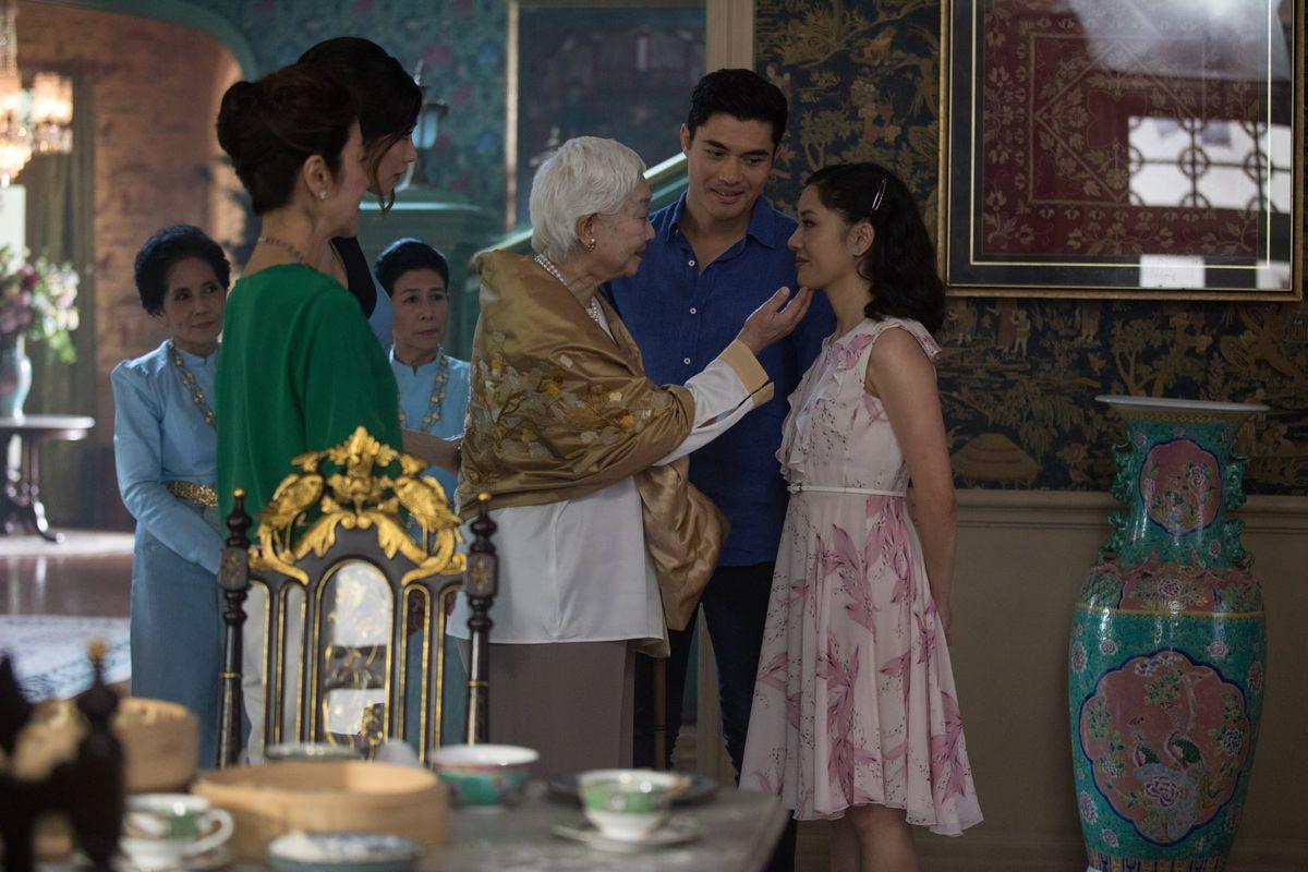 Michelle Yeoh,Constance Wu,Gemma Chan, andHenry GoldinginCrazy Rich Asians