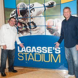 Emeril Lagasse and Joe Montana at Lagasse's Stadium. Photo: Emeril's Homebase