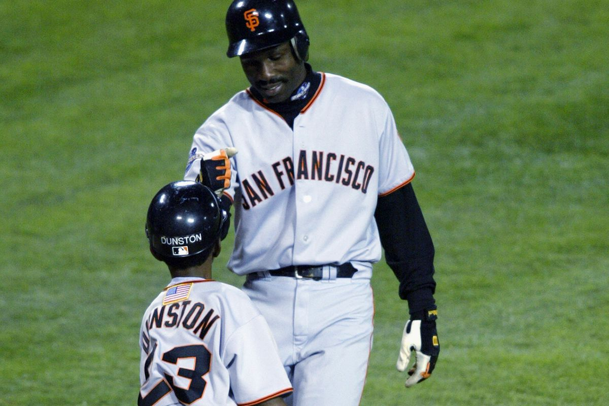 Shawon Dunston Jr. and his dad during the 2002 World Series
