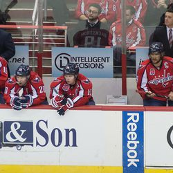 Ovechkin Looks At Ice Without Gloves
