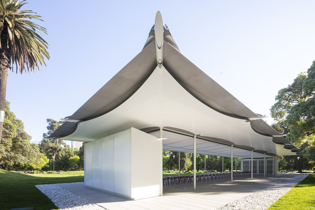 Pavilion with translucent material stretched over roof.