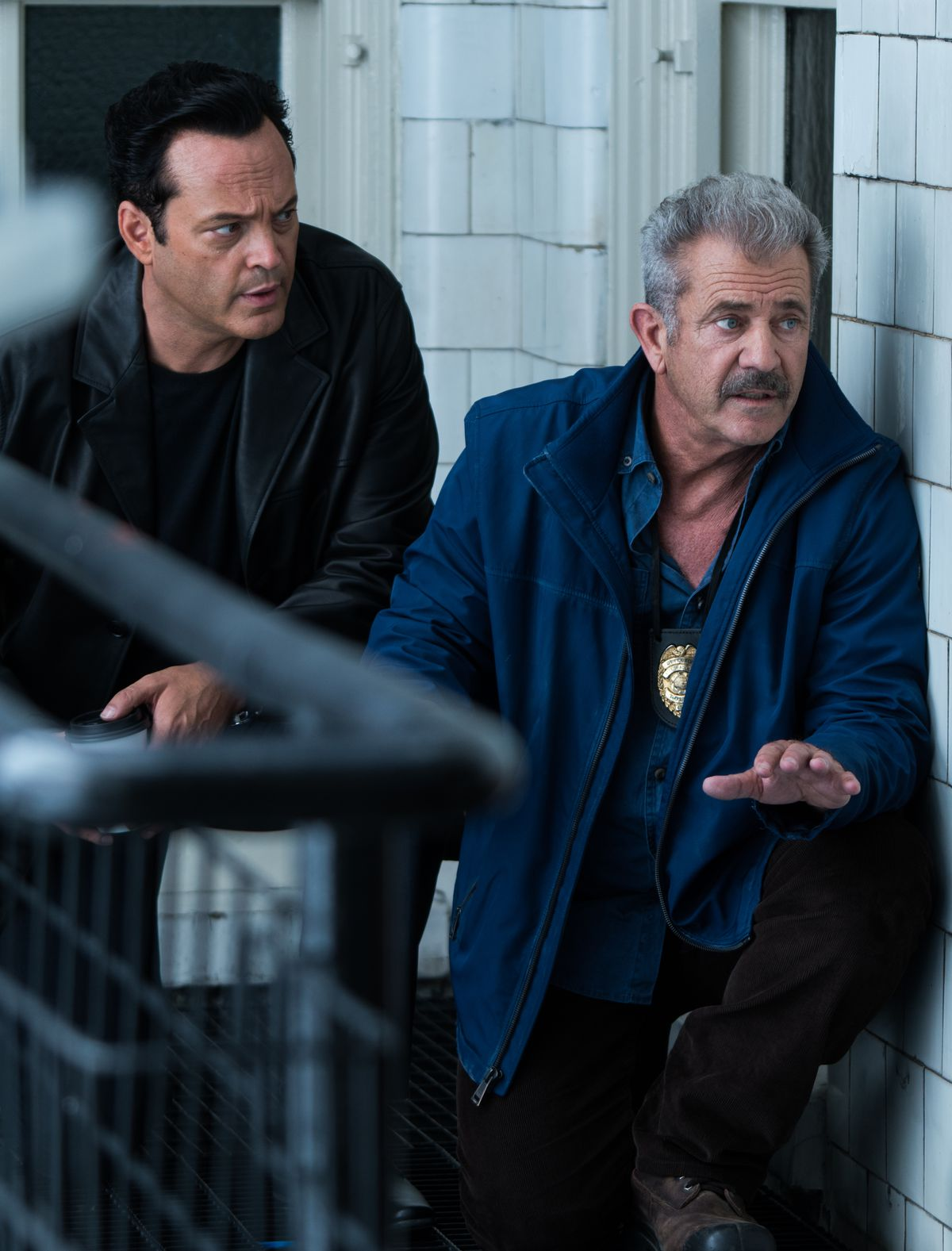 Dragged Across Concrete - Anthony and Brett about to apprehend a suspect