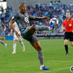 August 14, 2019 - Saint Paul, Minnesota, United States - Minnesota United forward Angelo Rodriguez (9) controls the ball during the match against the Colorado Rapids at Allianz Field.