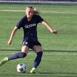 UConn's Sofia Weber #3 during the New Hampshire Wildcats vs the UConn Huskies exhibition women's college soccer game at Morrone Stadium at Rizza Performance Center in Storrs, CT, on Saturday August 14, 2021.