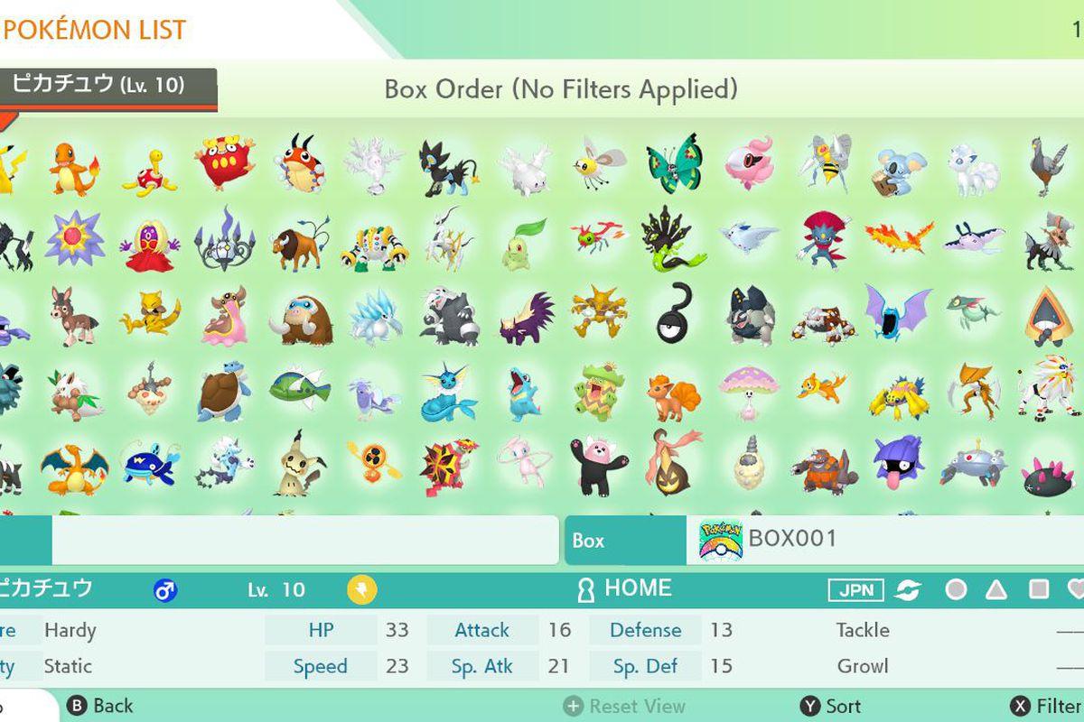 A Pokémon Home screen showing many Pokémon in a box