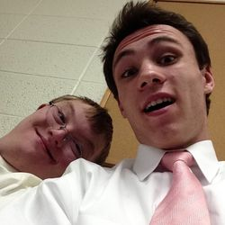 Britain Covey with his friend, William.