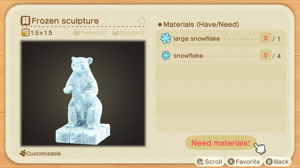 An Animal Crossing recipe for a Frozen Sculpture