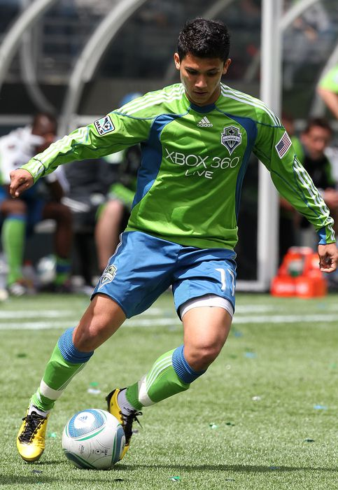 SEATTLE - MAY 22:  Fredy Montero #17 of the Seattle Sounders FC dribbles against the San Jose Earthquakes on May 22, 2010 at Qwest Field in Seattle, Washington. The Earthquakes defeated the Sounders 1-0. (Photo by Otto Greule Jr/Getty Images)