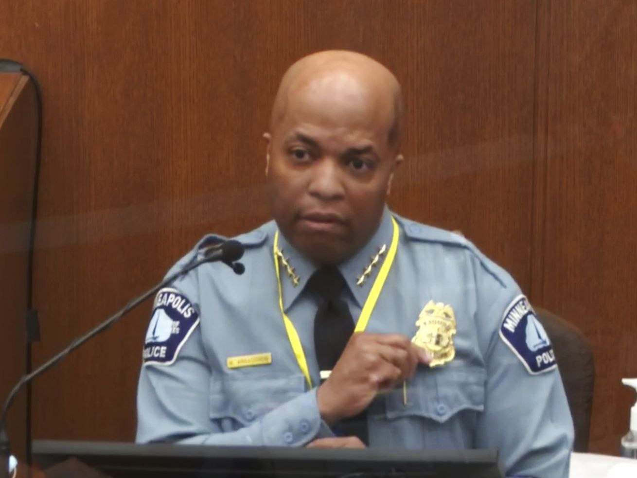 In this image from video, witness Minneapolis Police Chief Medaria Arradondo testifies as Hennepin County Judge PeterCahill presides Monday, April 5, 2021, in the trial of former Minneapolis police Officer Derek Chauvin at the Hennepin County Courthouse in Minneapolis. Chauvin is charged in the May 25, 2020 death of George Floyd.