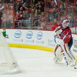 Holtby Plays Puck From Behind the Net