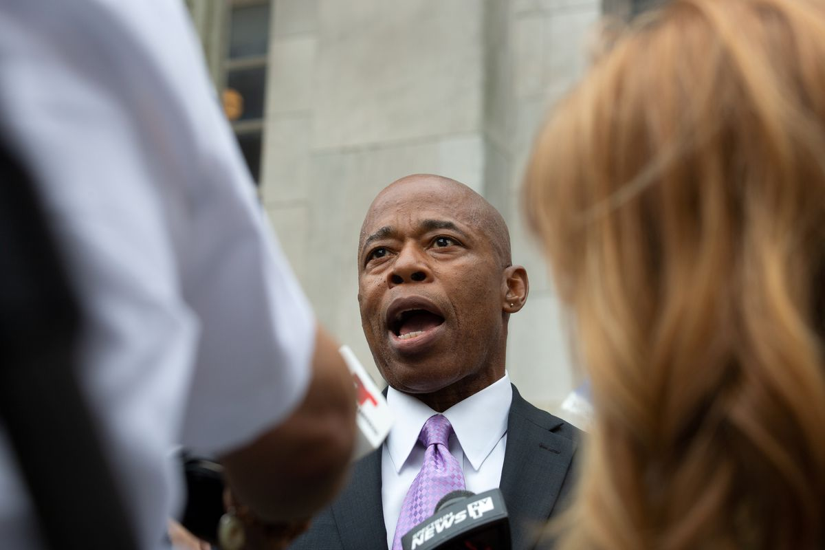 Mayoral candidate Eric Adams speaks with the press in front of Brooklyn Borough Hall on Monday, July 19, 2021.