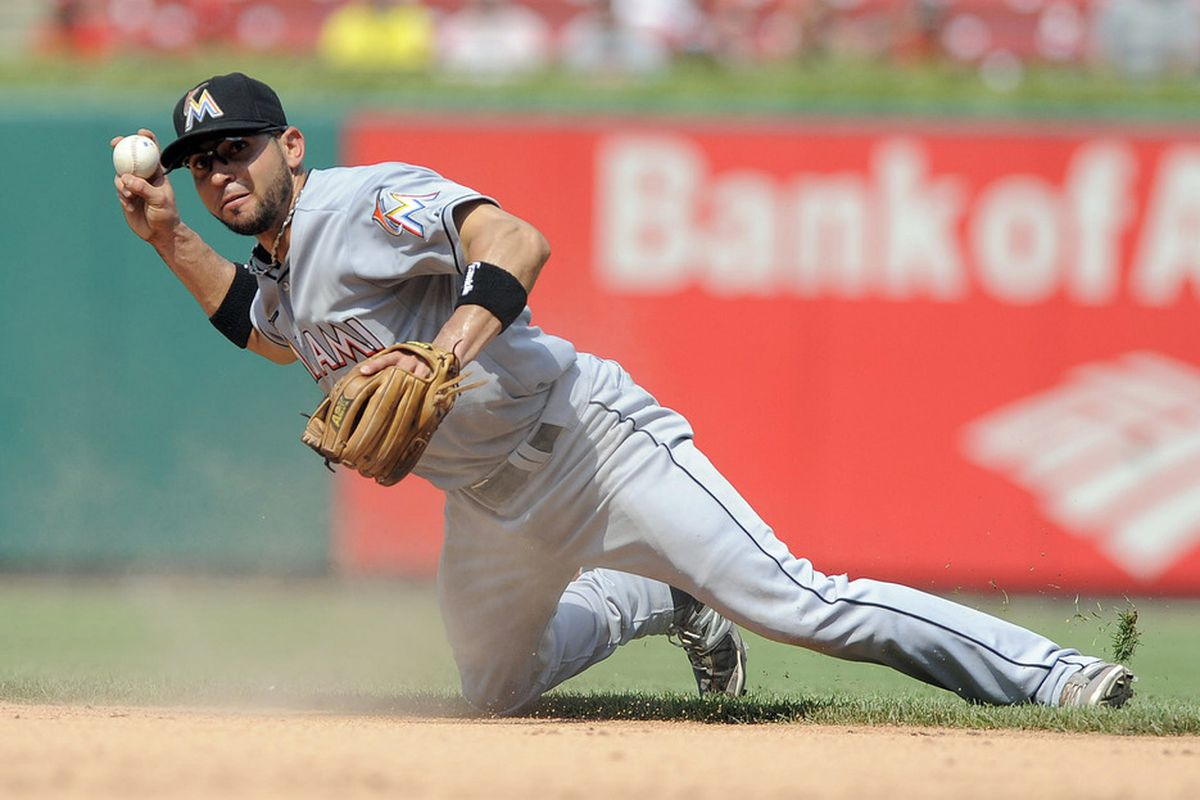 Omar Infante has been the Miami Marlins' most impressive fielder thus far in the first half. Mandatory Credit: Jeff Curry-US PRESSWIRE