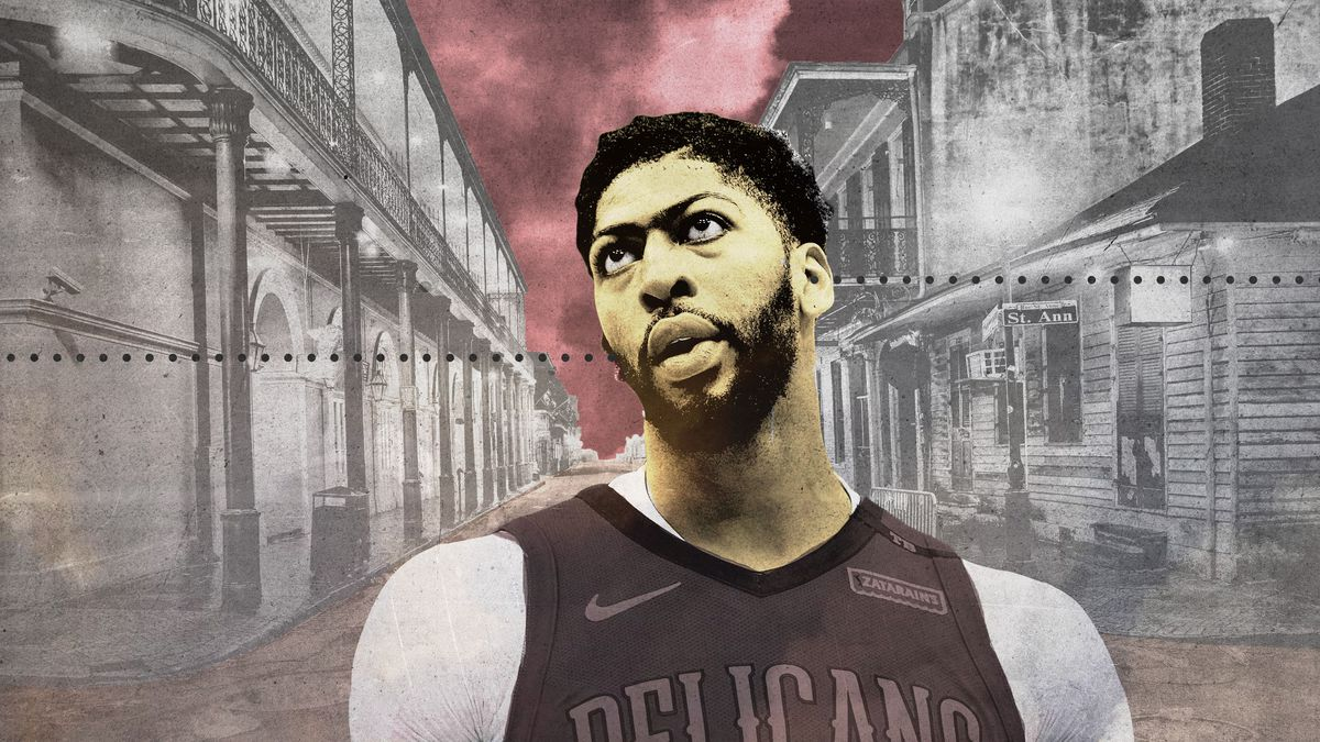 An illustration of Anthony Davis in a ghost town
