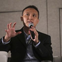 Reuben Ng, Yale University assistant professor, speaks on the Building Inclusive Communities Through Education panel at the 68th United Nations Civil Society Conference at the Salt Palace Convention Center in Salt Lake City on Monday, Aug. 26, 2019.
