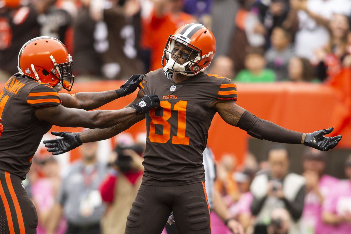 leveland Browns wide receiver Rashard Higgins (81) celebrates his touchdown against the Baltimore Ravens with wide receiver Antonio Callaway (11) during the second quarter at FirstEnergy Stadium.
