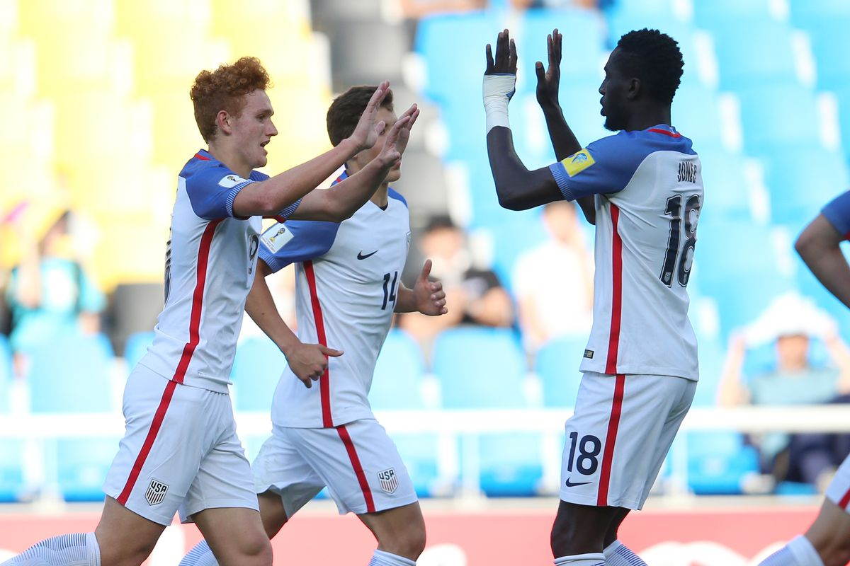 INCHEON, SOUTH KOREA - MAY 22: Joshua Sargent (L) of USA celebrates with Derrick Jones after scoring hids team's first goal during the FIFA U-20 World Cup Korea Republic 2017 group F match between Ecuador and USA at Incheon Munhak Stadium on May 22, 2017 in Incheon, South Korea. (Photo by Joern Pollex - FIFA/FIFA via Getty Images)