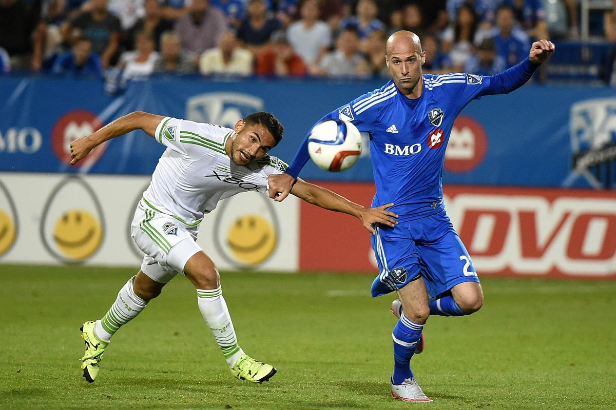 Ciman fights for the ball in the Impact's 1-0 victory the Sounders.
