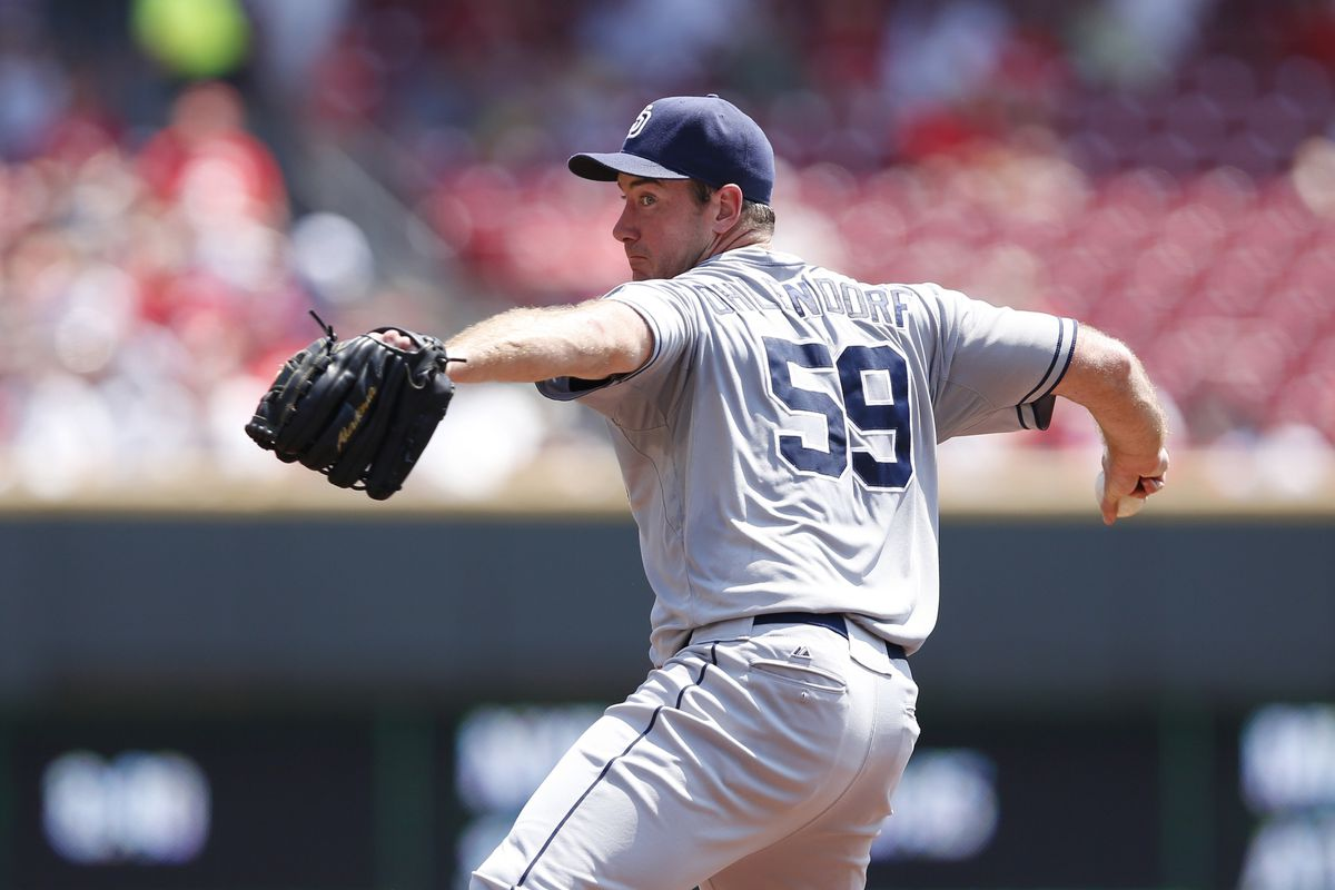 CINCINNATI, OH - AUGUST 2: Ross Ohlendorf #59 of the San Diego Padres pitches during the game against the Cincinnati Reds at Great American Ball Park on August 2, 2012 in Cincinnati, Ohio. (Photo by Joe Robbins/Getty Images)