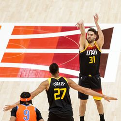 Utah Jazz forward Georges Niang (31) shoots during the game against the Oklahoma City Thunder at Vivint Smart Home Arena in Salt Lake City on Tuesday, April 13, 2021.