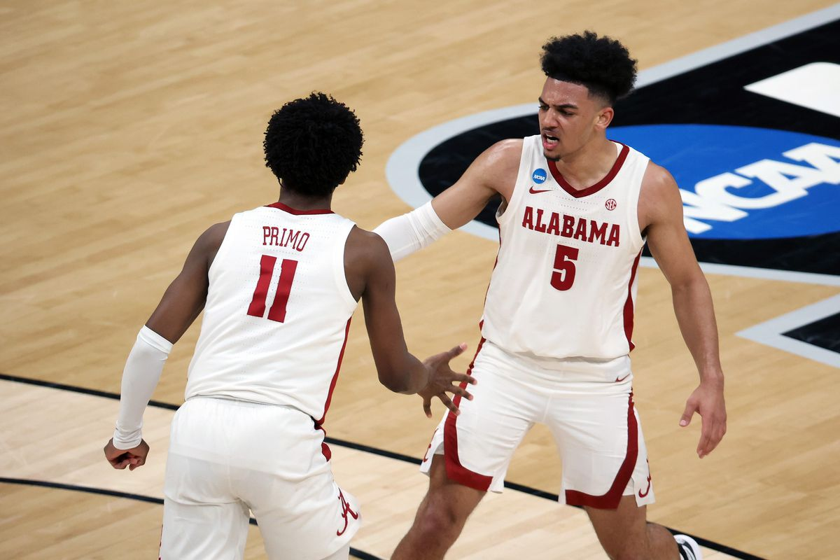 Alabama Crimson Tide guard Jaden Shackelford and guard Joshua Primo react after a play against the Maryland Terrapins in the second half in the second round of the 2021 NCAA Tournament at Bankers Life Fieldhouse.