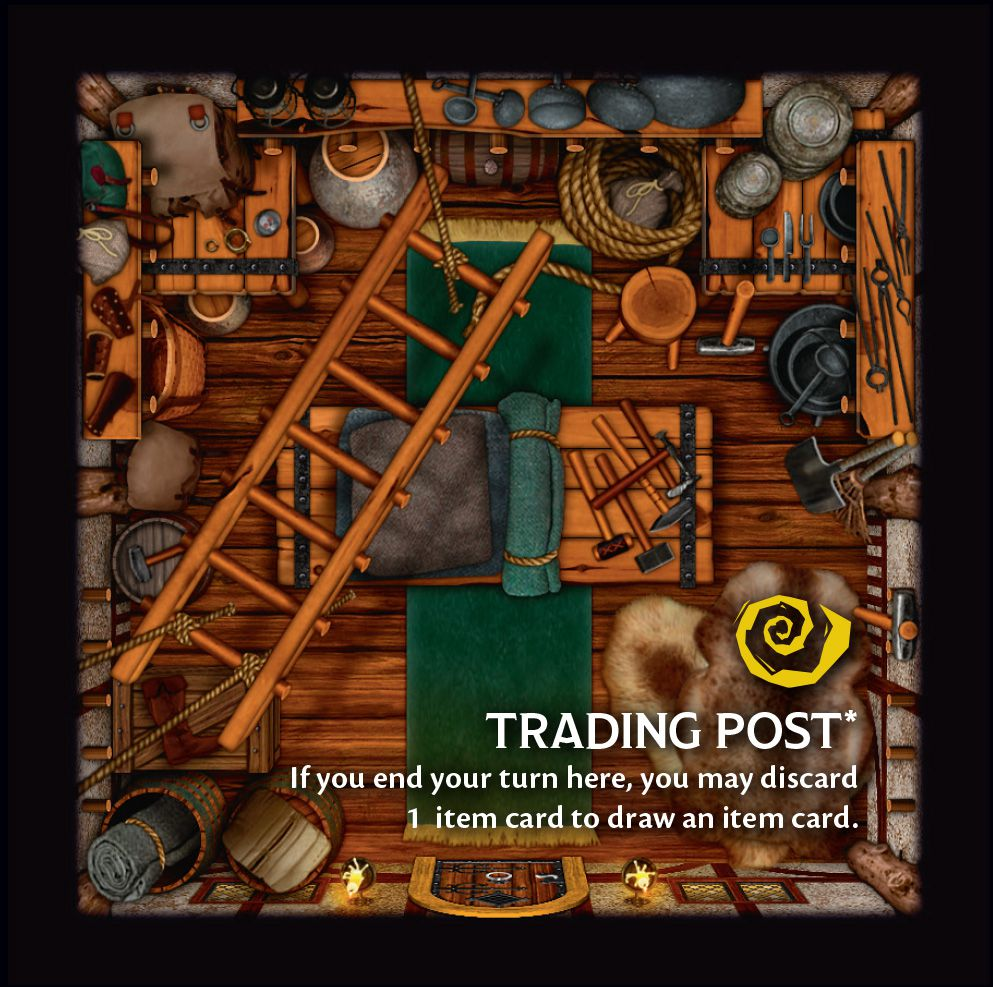 A top-down view of a trading post. A ladder hangs from the ceiling with various pots, pans and other tools stacked up on the floor for sale.