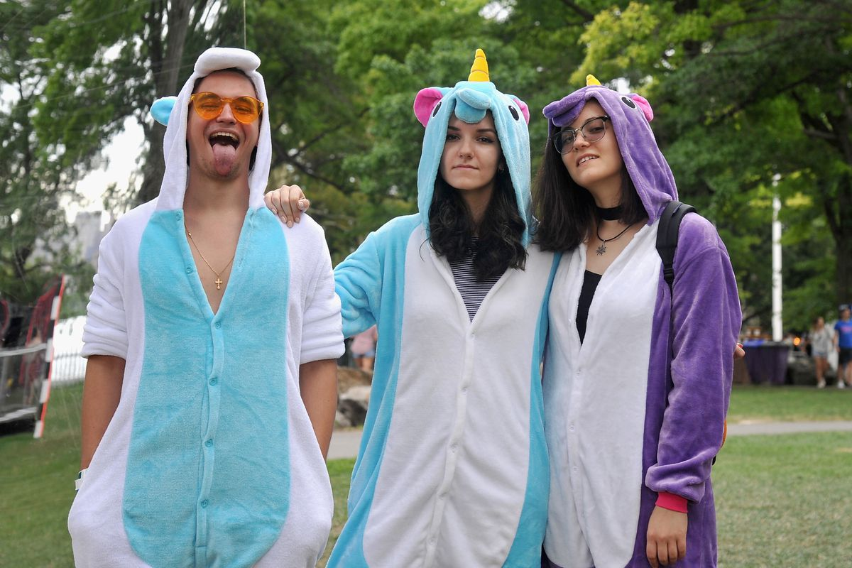 People dressed as unicorns at the 2017 Panorama Music Festival