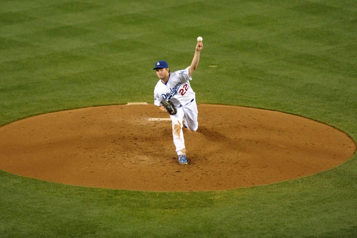May 30, 2012; Los Angeles, CA, USA; Los Angeles Dodgers starter Clayton Kershaw (22) delivers a pitch against the Milwaukee Brewers at Dodger Stadium. Mandatory Credit: Kirby Lee/Image of Sport-US PRESSWIRE