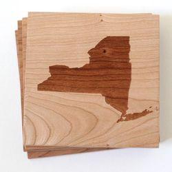 "Cherry Wood NYC Coaster Set by Richwood Creations, <a href=""http://www.brika.com/cherry-wood-nyc-coaster-set"">$30</a>"