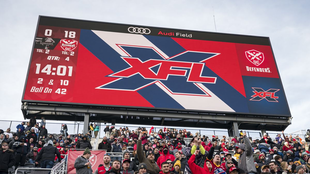 A general view of the scoreboard displaying the XFL logo during the game between the DC Defenders and the NY Guardians at Audi Field on February 15, 2020 in Washington, DC.