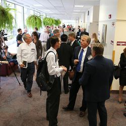 """Attendees take a break during the BYU law school conference on religious freedom, """"Fairness For All,"""" July 6, 2015, in Provo."""