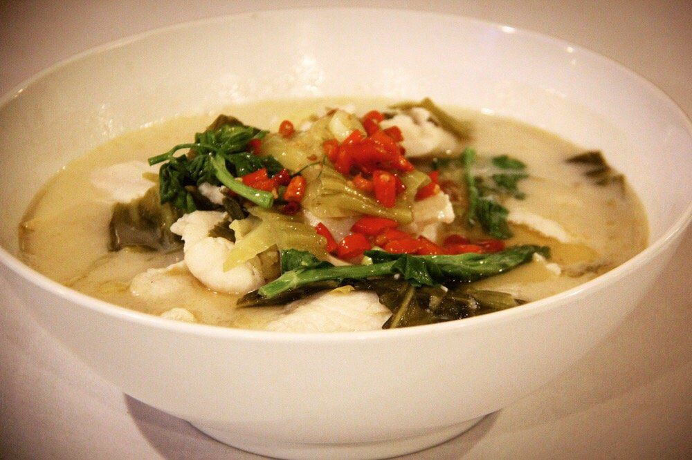 Legend's Chengdu fish soup with pickled vegetables