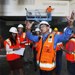 Fred Strasser, project director for Okland Construction, leads a media tour during the renovation of Vivint Smart Home Arena in Salt Lake City on Tuesday, June 27, 2017.