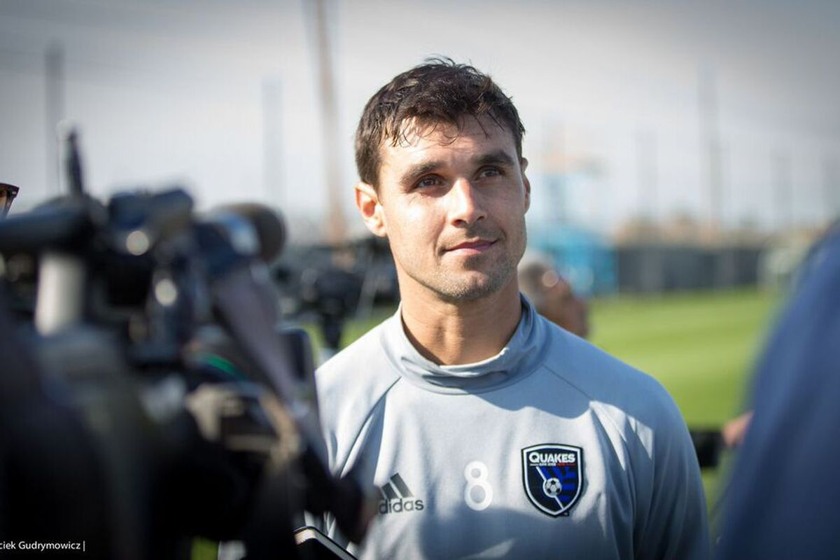 Quakes Captain Chris Wondolowski fields questions from reporters on media day