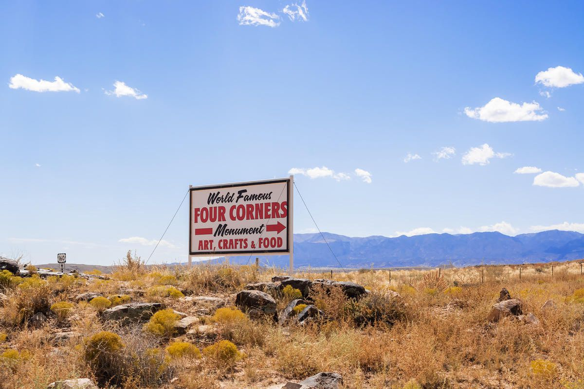 Sign at the Four Corners. It  is a region of the United States consisting of the southwestern corner of Colorado, southeastern corner of Utah, northeastern corner of Arizona, and northwestern corner of New Mexico.