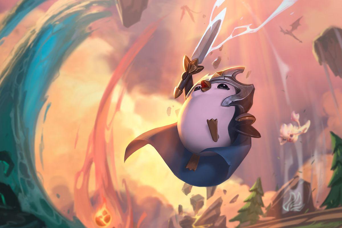 The Pengu Little Legend holds a sword above its head
