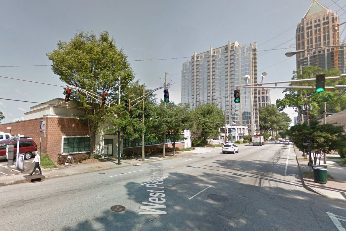 Looking down West Peachtree from 11th Street, past the site.