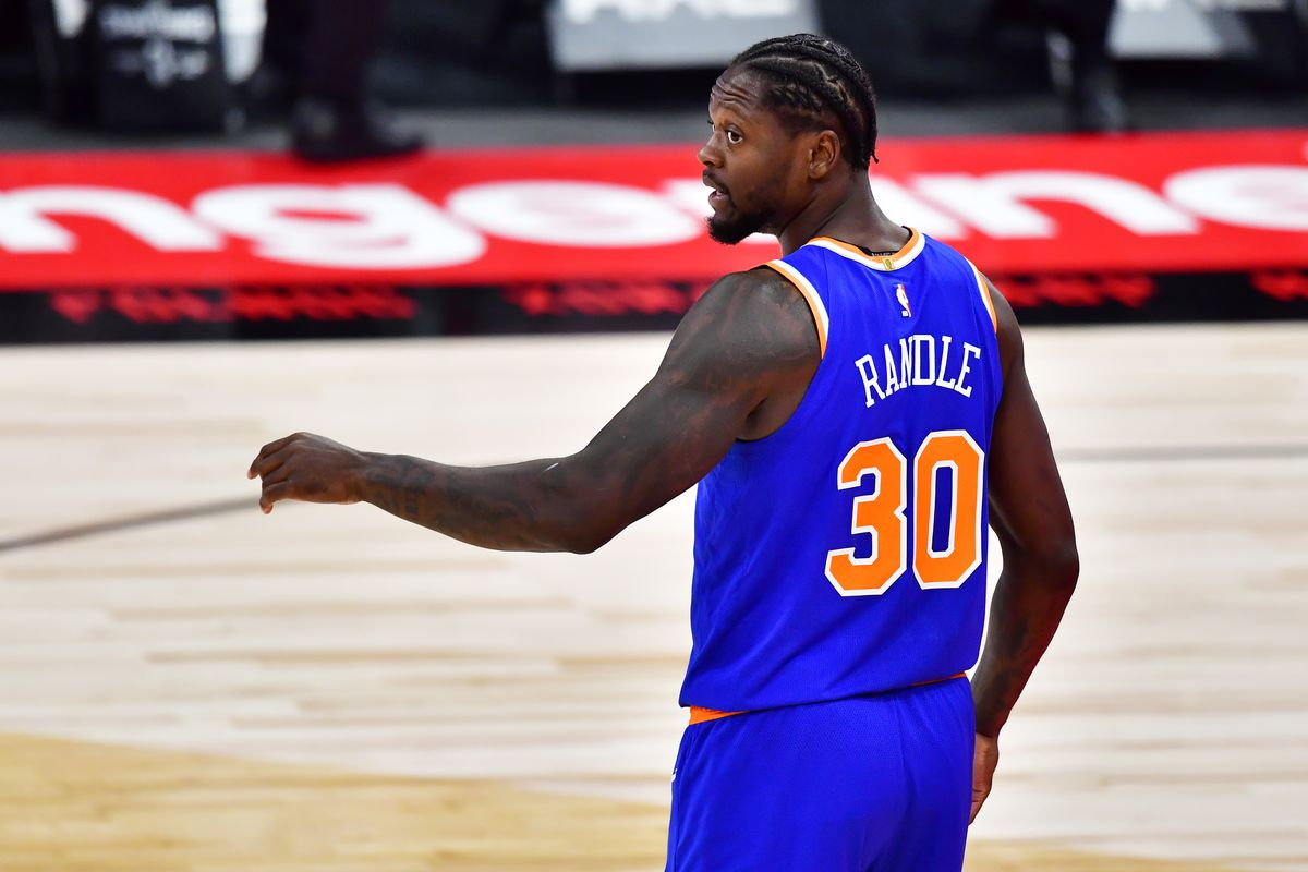 Julius Randle of the New York Knicks looks on during the first half against the Toronto Raptors at Amalie Arena on December 31, 2020 in Tampa, Florida.