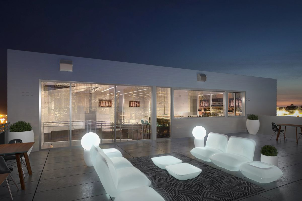 A rendering of Sunset's rooftop lounge