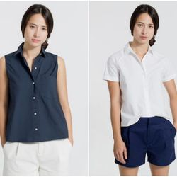 """<b>Caitlin Petreycik, Racked New York Features Writer</b>: """"I'm really into <b>Everlane's</b> new-ish, affordable collection of <a href=""""https://www.everlane.com/collections/womens-shirting"""">short-sleeve and sleeveless blouses</a>, all under $50. Maybe it"""