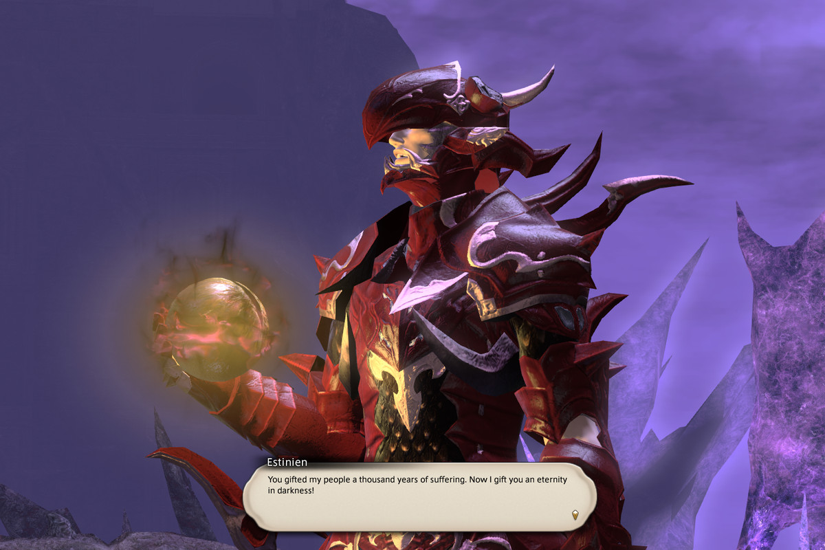 A dragoon in red armor holds a glowing orange orb