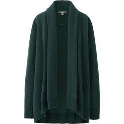 "<b>Uniqlo</b>, <a href=""http://www.uniqlo.com/us/product/women-cashmere-blend-stole-cardigan-128923.html#58 /women/tops/sweaters/cashmere-blend/ "">$50</a>"