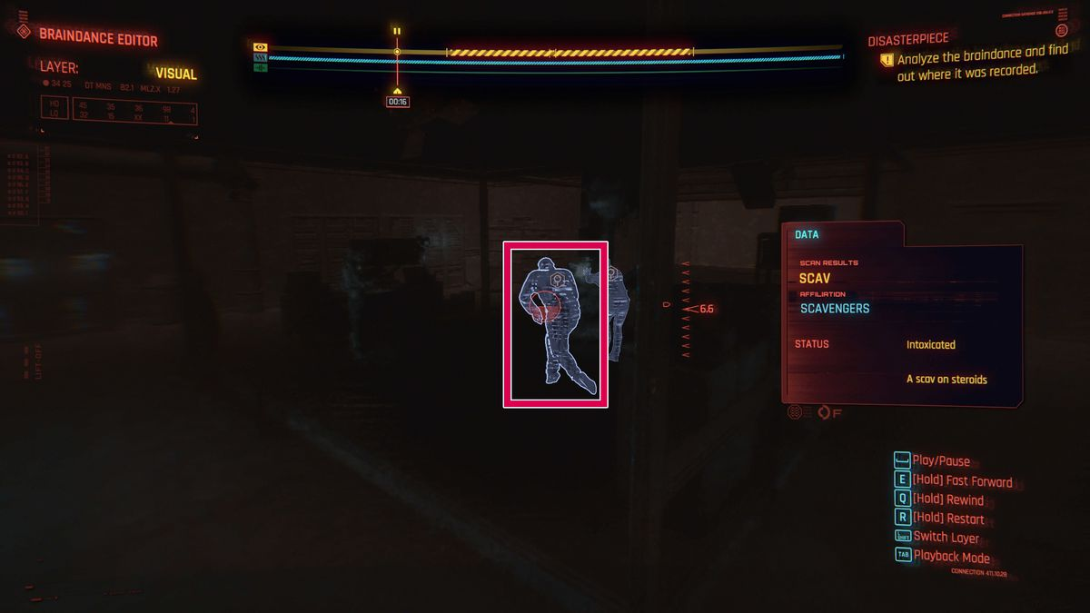 Scanning a scav on steroids during the Disasterpiece braindance