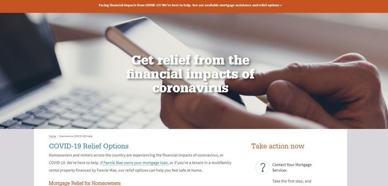 A screenshot of the Fannie Mae website. Fannie Mae, like many other lenders and loan servicers, is offering help online for borrowers impacted by the coronavirus pandemic.