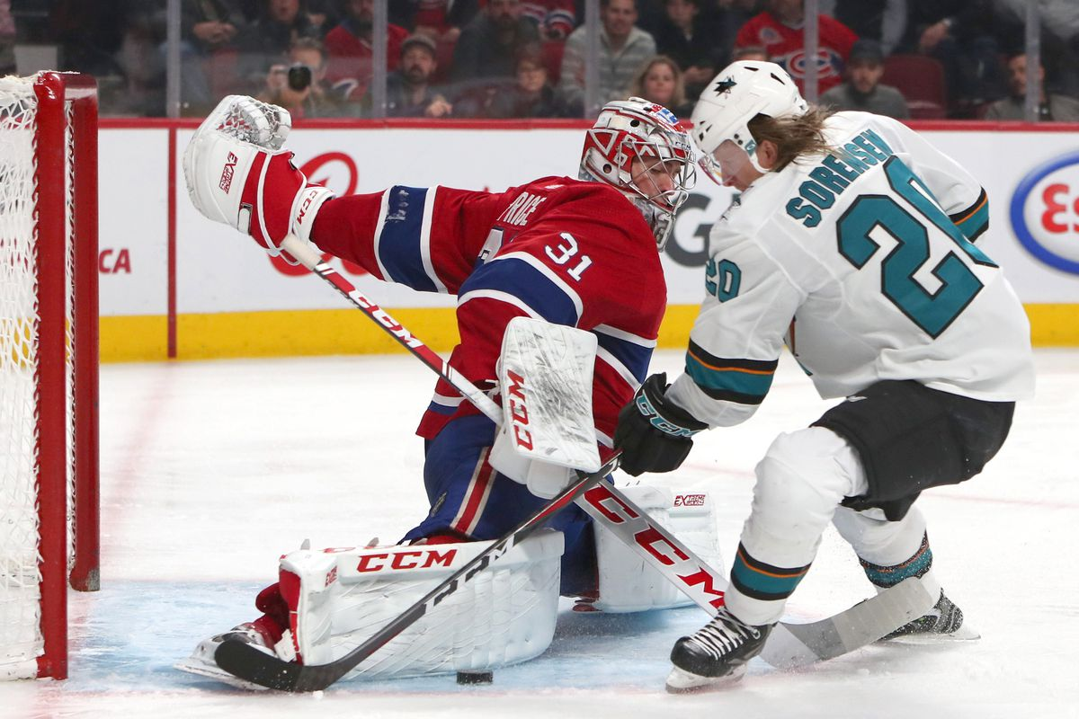 Dec 2, 2018; Montreal, Quebec, CAN; San Jose Sharks left wing Marcus Sorensen (20) shoots on Montreal Canadiens goaltender Carey Price (31) during the second period at Bell Centre.