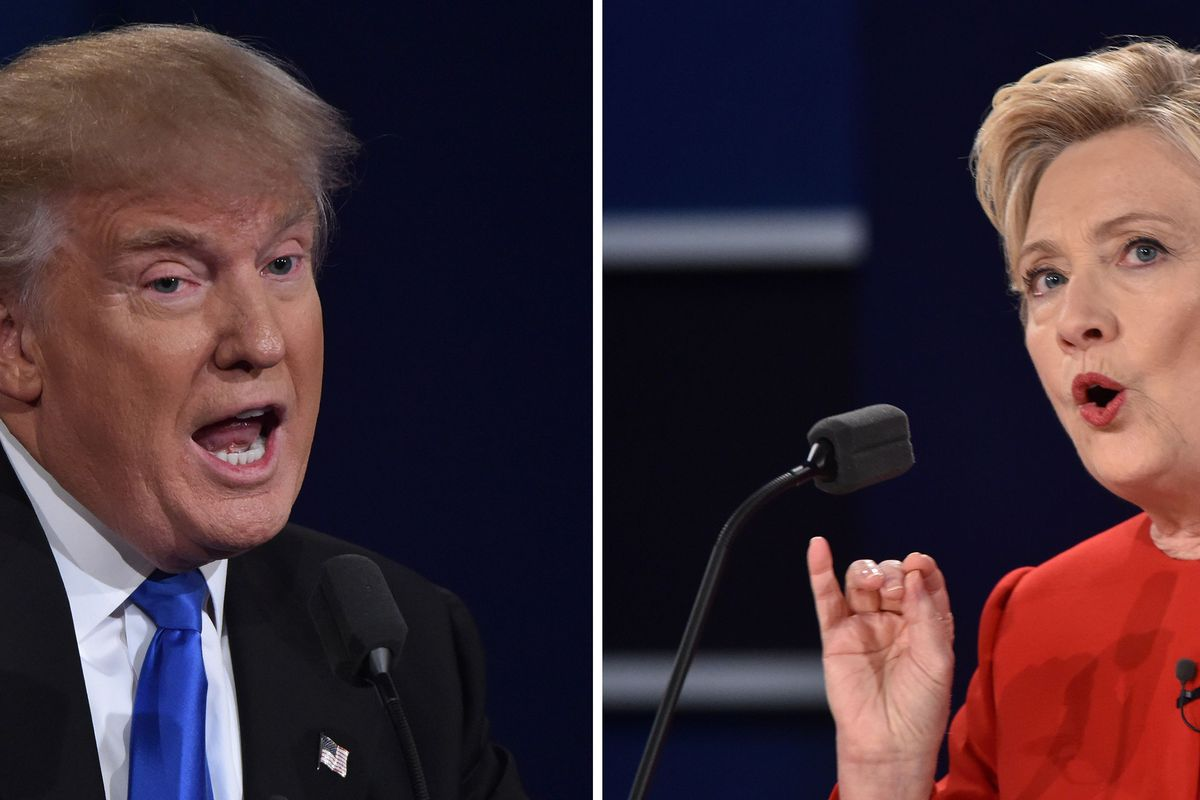 Photo of Donald Trump and Hillary Clinton speaking at Monday's presidential debate.