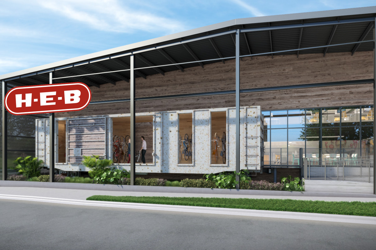 Rendering of a front of a converted two-story warehouse with HEB sign