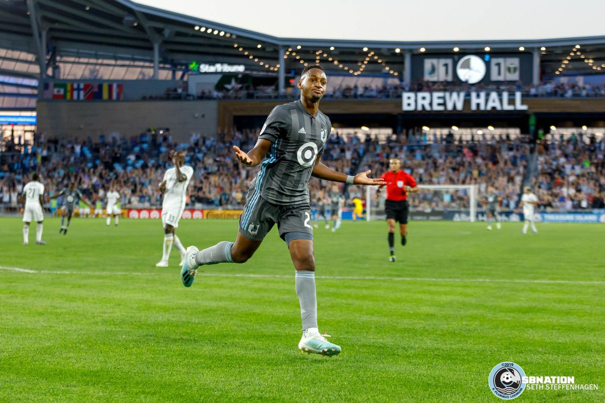 August 7, 2019 - Saint Paul, Minnesota, United States - Minnesota United forward Mason Toye (23) scores the game winning goal during the US Open Cup semifinal match against the Portland Timbers at Allianz Field.