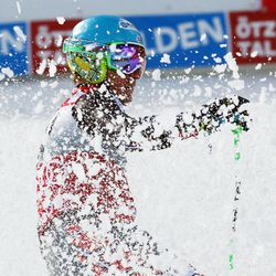 Ted Ligety, of the United States, looks at the scoreboard after winning an alpine ski, men's World Cup giant slalom, in Soelden, Austria, Sunday, Oct. 27, 2013. Ted Ligety maintained his dominance in giant slalom by taking the season-opening World Cup race by a 0.79-second winning margin Sunday, while Bode Miller finished 19th upon his return to the circuit following a 20-month injury layoff. (AP Photo/Alessandro Trovati)
