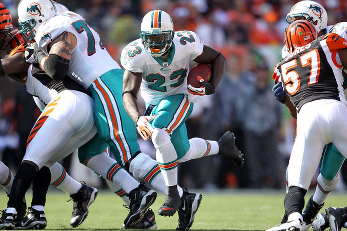 CINCINNATI - OCTOBER 31:  Ronnie Brown #23 of the Miami Dolphins runs with the ball during the NFL game against the Cincinnati Bengals at Paul Brown Stadium on October 31 2010 in Cincinnati Ohio.  (Photo by Andy Lyons/Getty Images)